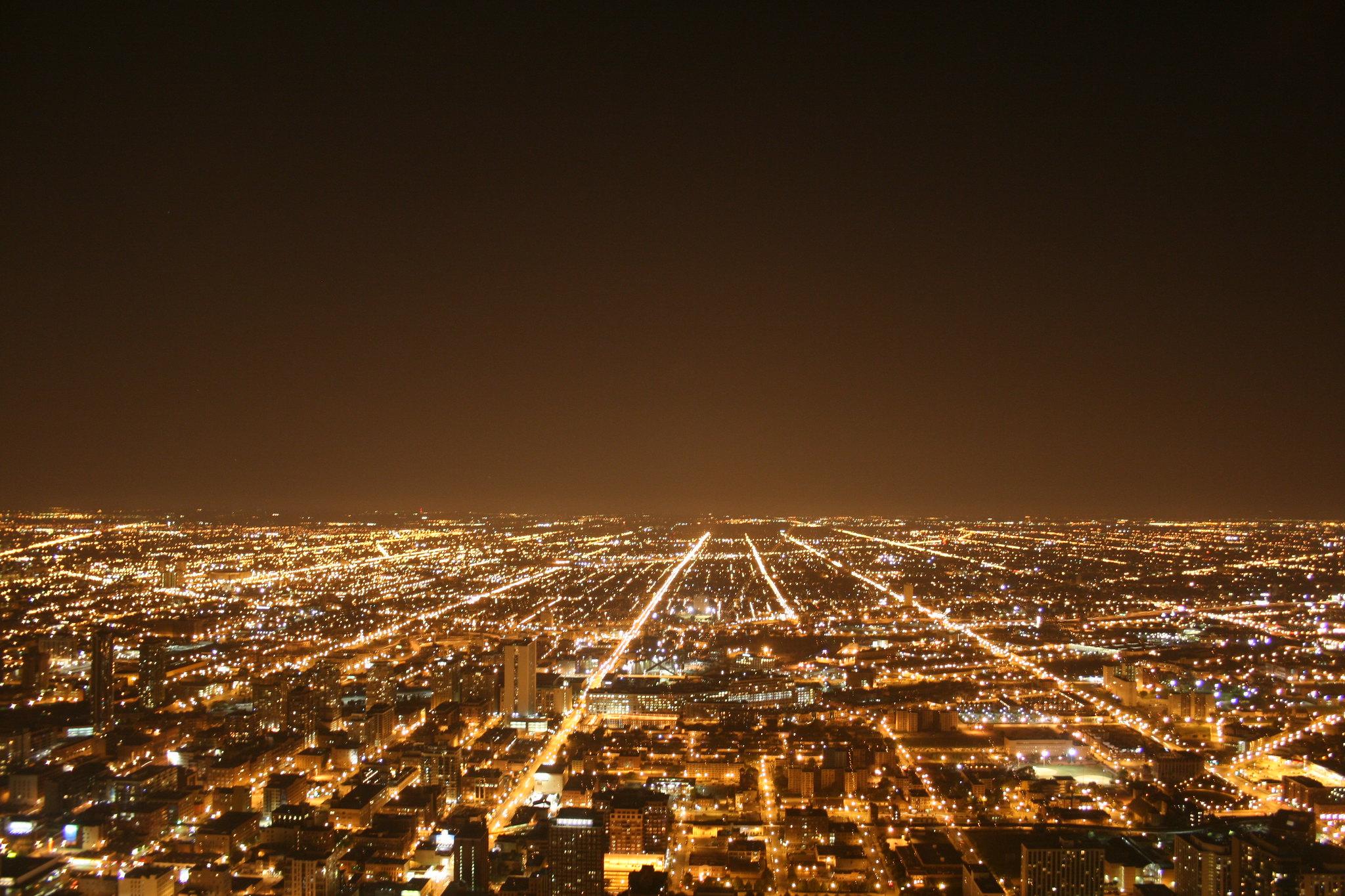 foto, nacht, stad